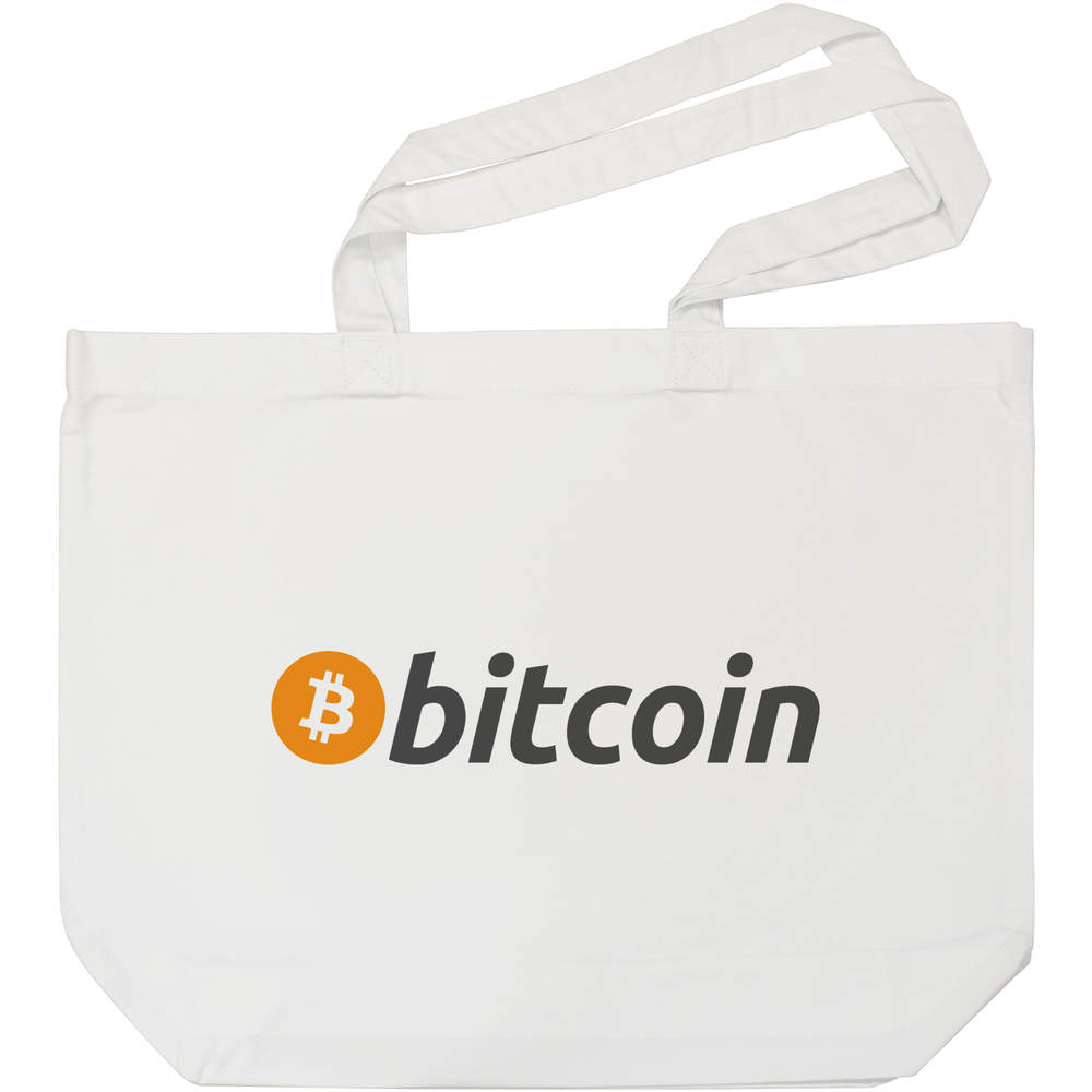 'Bitcoin Logo & Text' Tote Shopping Bag For Life (BG00000003)