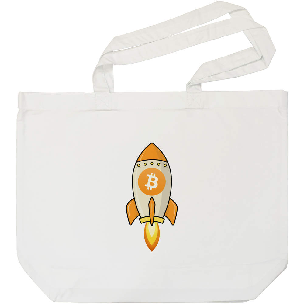 'Bitcoin Rocket' Tote Shopping Bag For Life (BG00000012)