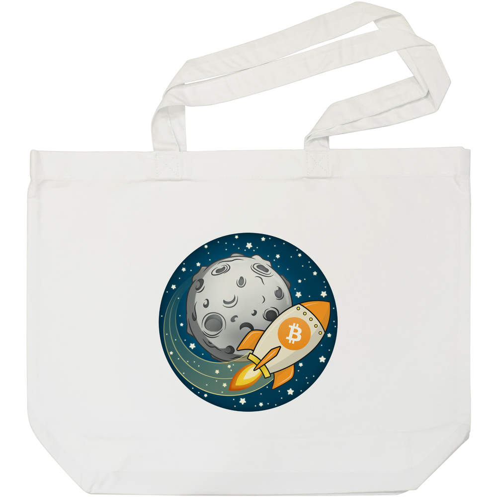 'Bitcoin Rocket To The Moon' Tote Shopping Bag For Life (BG00000015)