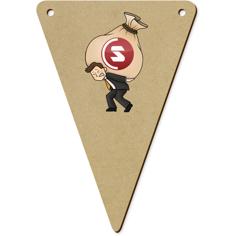 'SuperCoin Heavy Bags' Wooden Bunting Flags