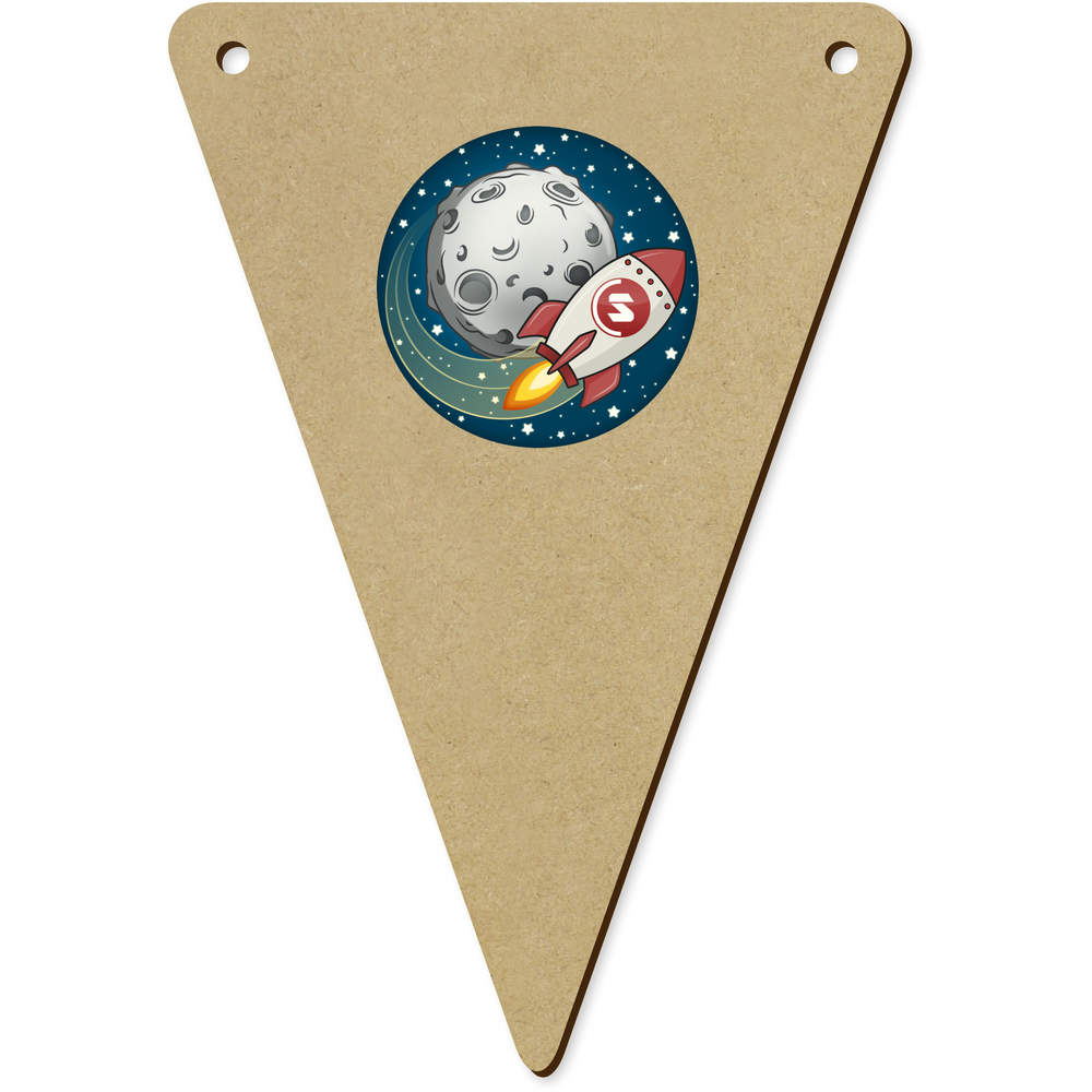 'Supercoin Rocket To The Moon' Wooden Bunting Flags