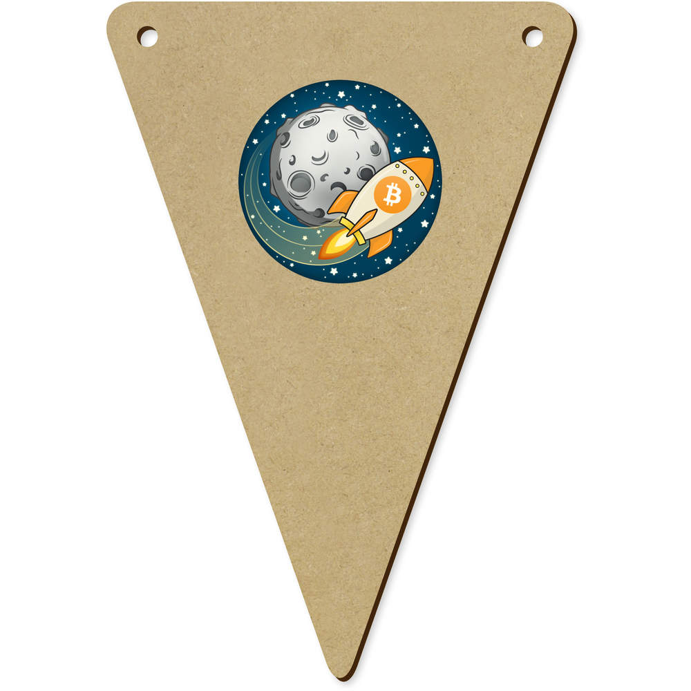 'Bitcoin Rocket To The Moon' Wooden Bunting Flags