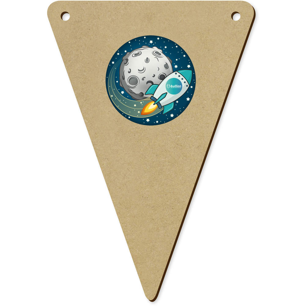 'Bullion Rocket To The Moon' Wooden Bunting Flags