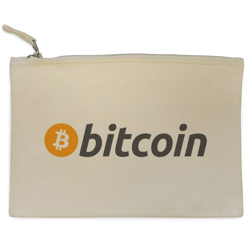 'Bitcoin Logo & Text' Canvas Clutch Bag / Accessory Case (CL00000003)