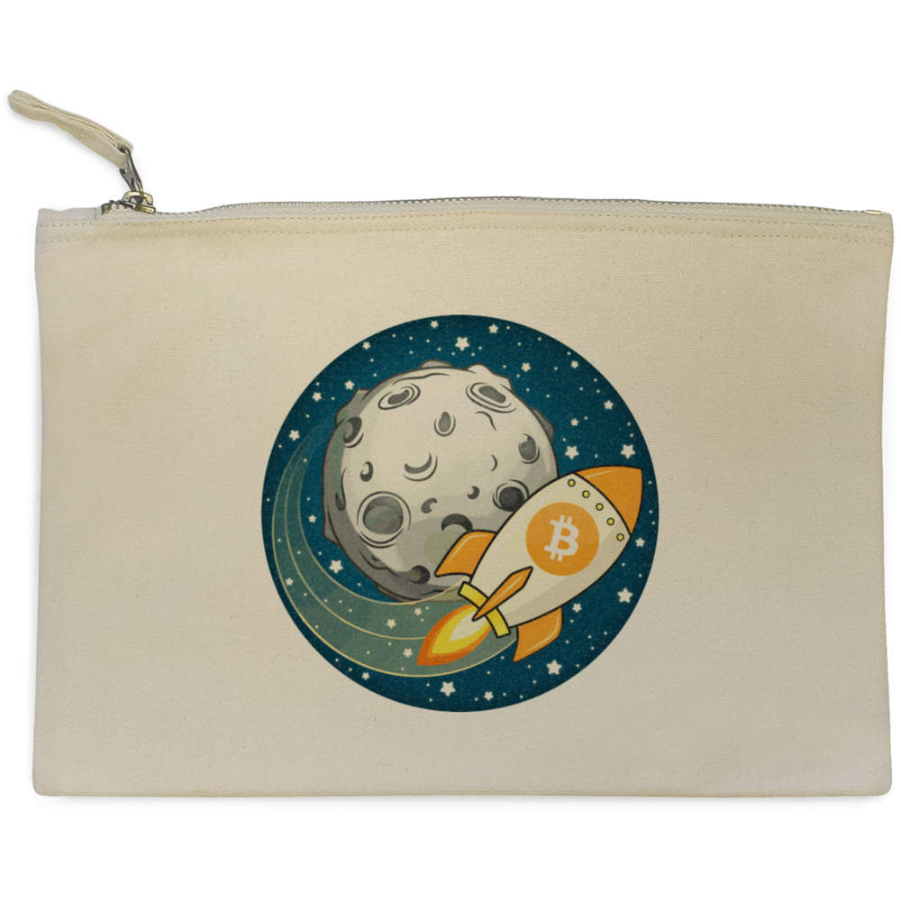'Bitcoin Rocket To The Moon' Canvas Clutch Bag / Accessory Case (CL00000015)