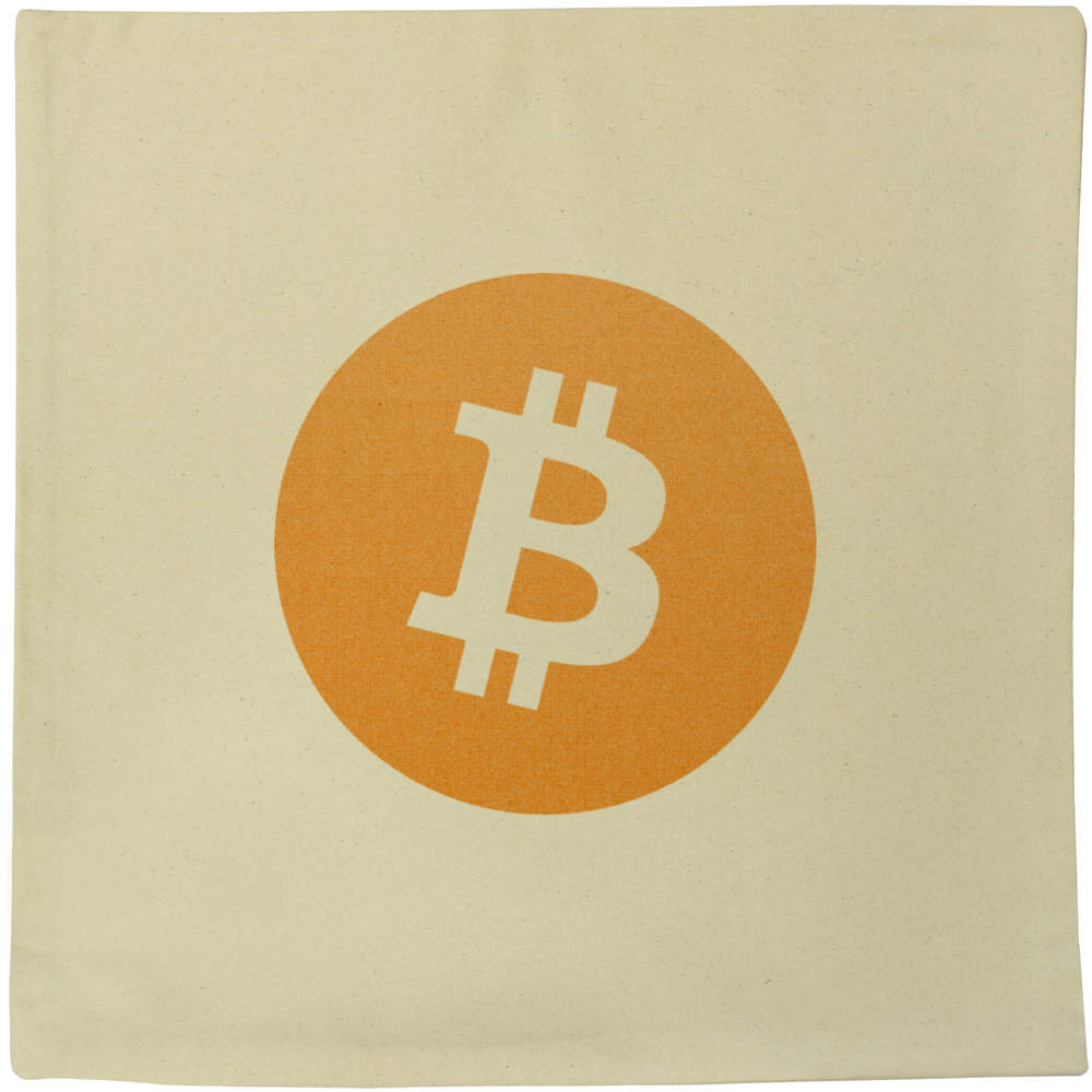 40cm x 40cm 'Bitcoin Logo' Canvas Cushion Cover (CV00000001)