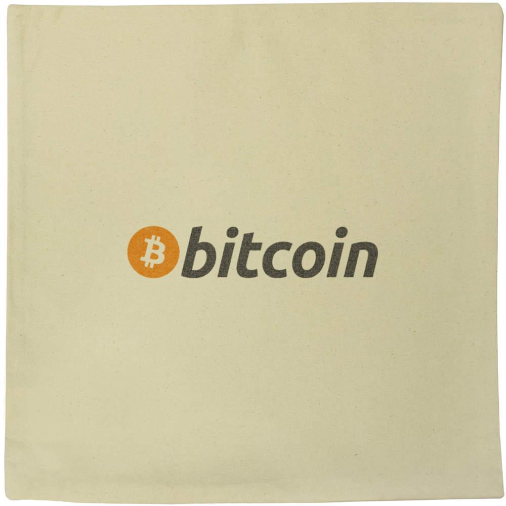 40cm x 40cm 'Bitcoin Logo & Text' Canvas Cushion Cover (CV00000003)