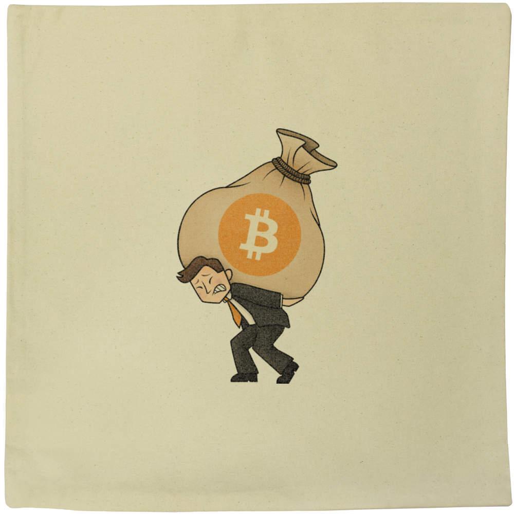 40cm x 40cm 'Bitcoin Heavy Bags' Canvas Cushion Cover (CV00000004)