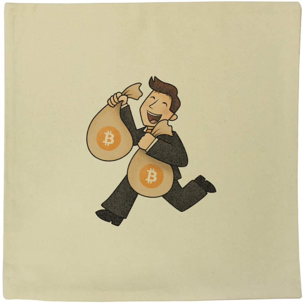 40cm x 40cm 'Bitcoin Bag Holder' Canvas Cushion Cover (CV00000005)