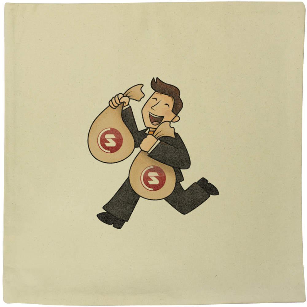 40cm x 40cm 'SuperCoin Bag Holder' Canvas Cushion Cover (CV00000006)