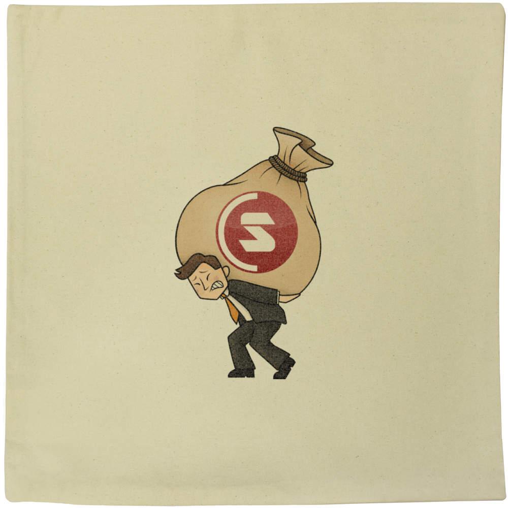 40cm x 40cm 'SuperCoin Heavy Bags' Canvas Cushion Cover (CV00000007)