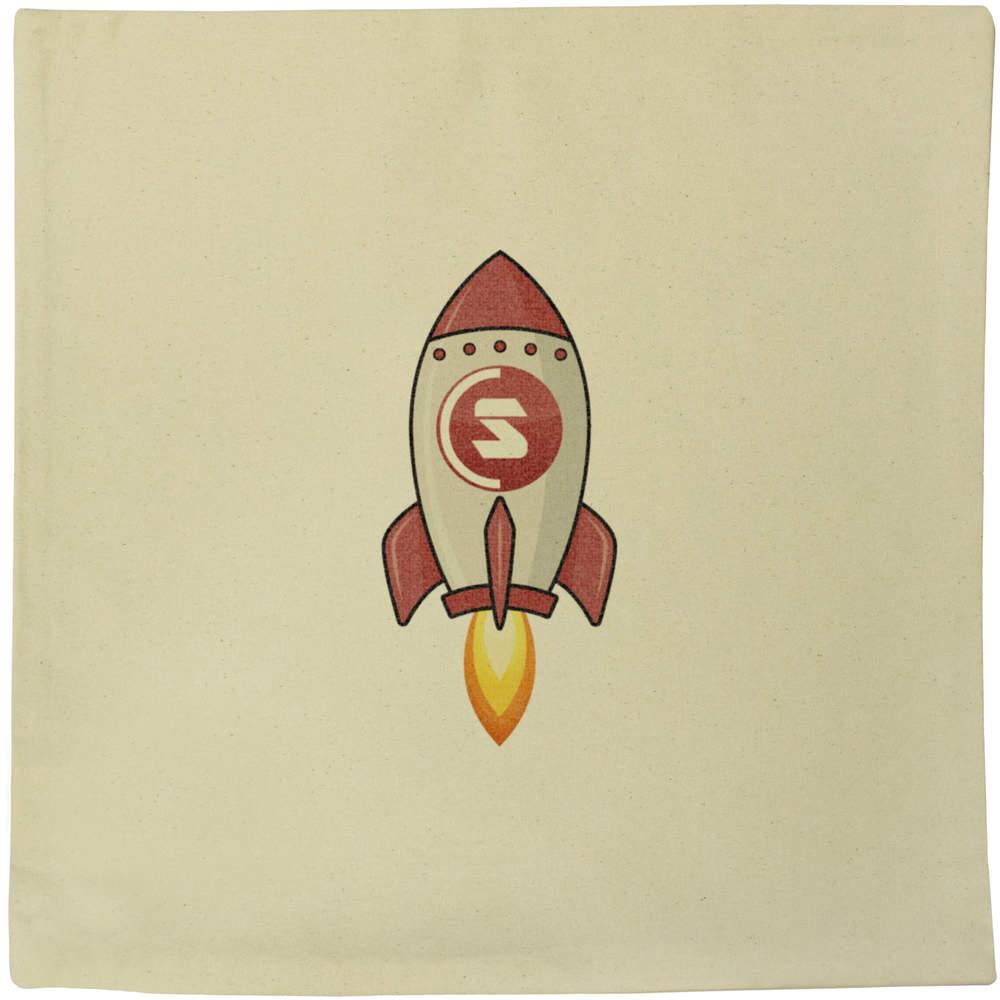 40cm x 40cm 'SuperCoin Rocket' Canvas Cushion Cover (CV00000011)