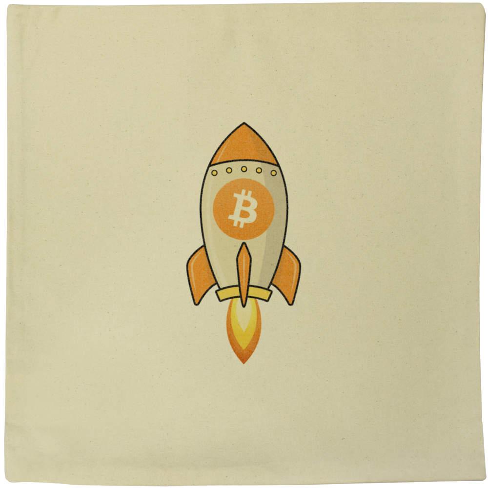 40cm x 40cm 'Bitcoin Rocket' Canvas Cushion Cover (CV00000012)