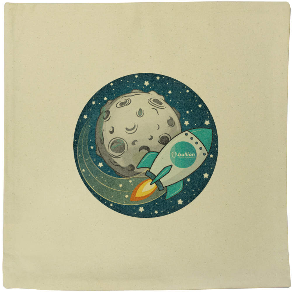40cm x 40cm 'Bullion Rocket To The Moon' Canvas Cushion Cover (CV00000016)