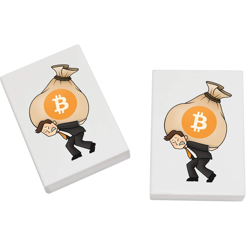 2 x 45mm 'Bitcoin Logo' Erasers / Rubbers (ER00000001)