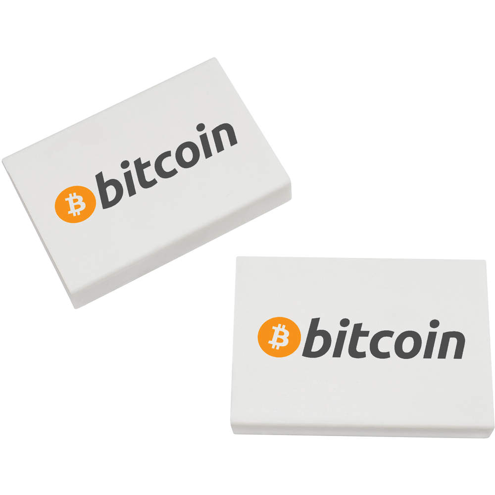 2 x 45mm 'Bitcoin Heavy Bags' Erasers / Rubbers (ER00000004)