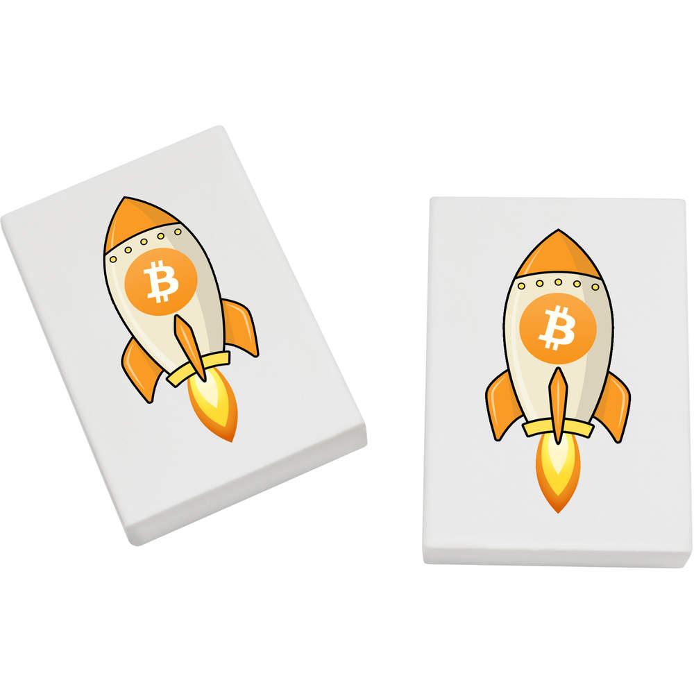 2 x 45mm 'Bitcoin Rocket' Erasers / Rubbers (ER00000012)