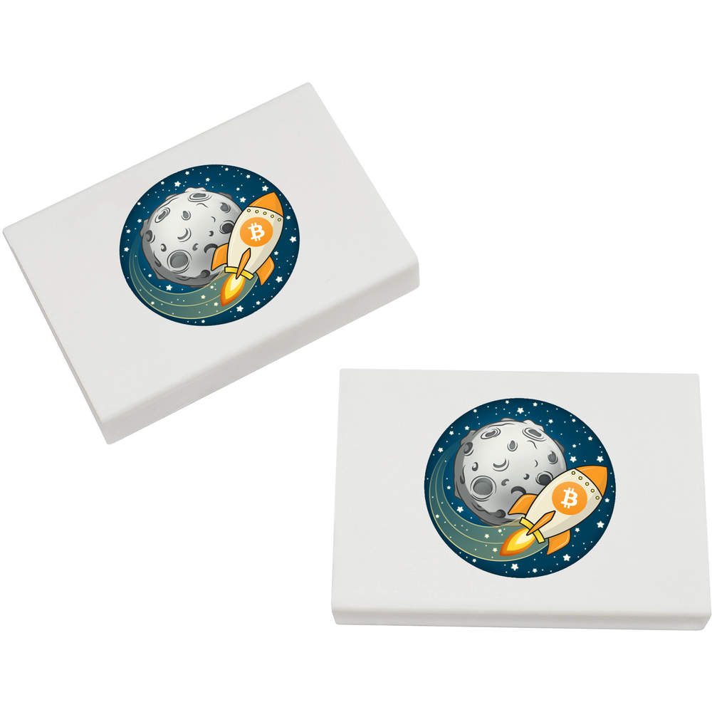 2 x 45mm 'Bitcoin Rocket To The Moon' Erasers / Rubbers (ER00000015)