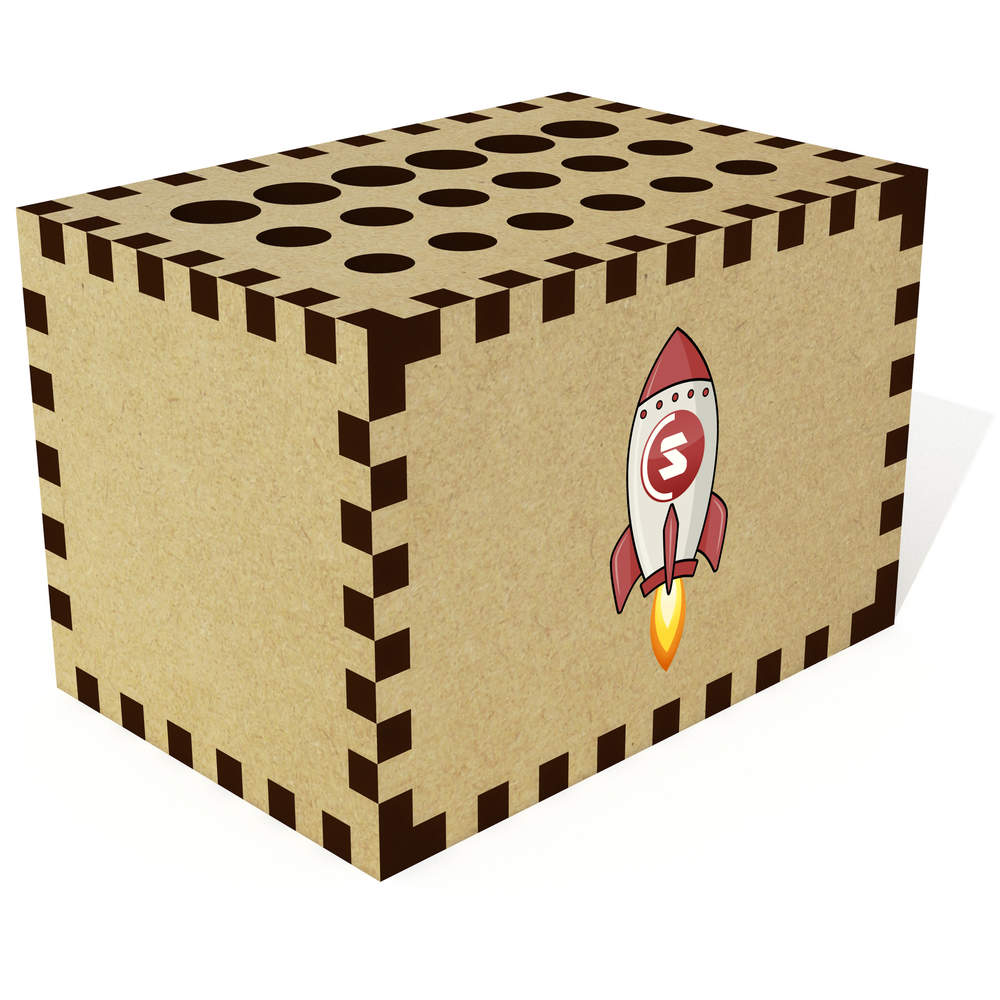 'SuperCoin Rocket' Pencil Block / Holder / Pot (PB00000011)