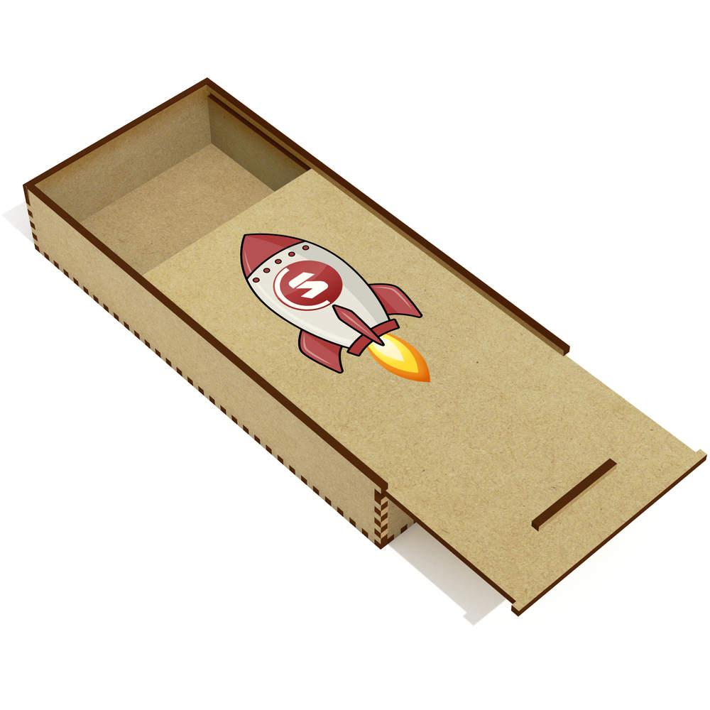 'SuperCoin Rocket' Wooden Pencil Case / Slide Top Box (PC00000022)