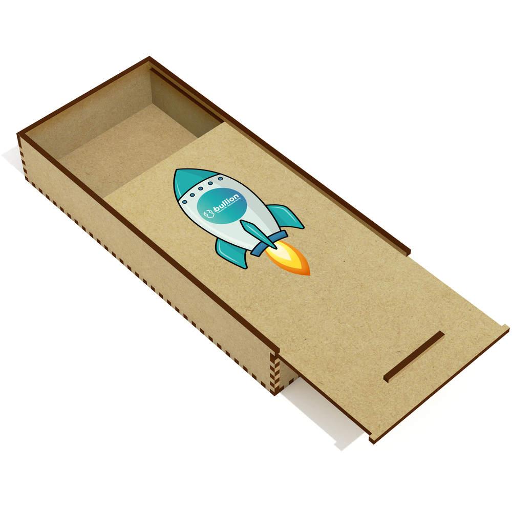 'Bullion Rocket' Wooden Pencil Case / Slide Top Box (PC00000024)