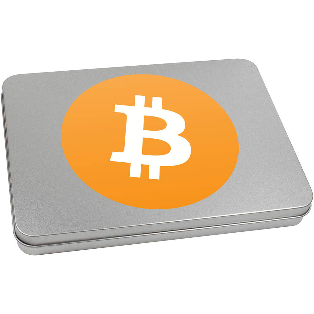 'Bitcoin Logo' Metal Hinged Tin / Storage Box